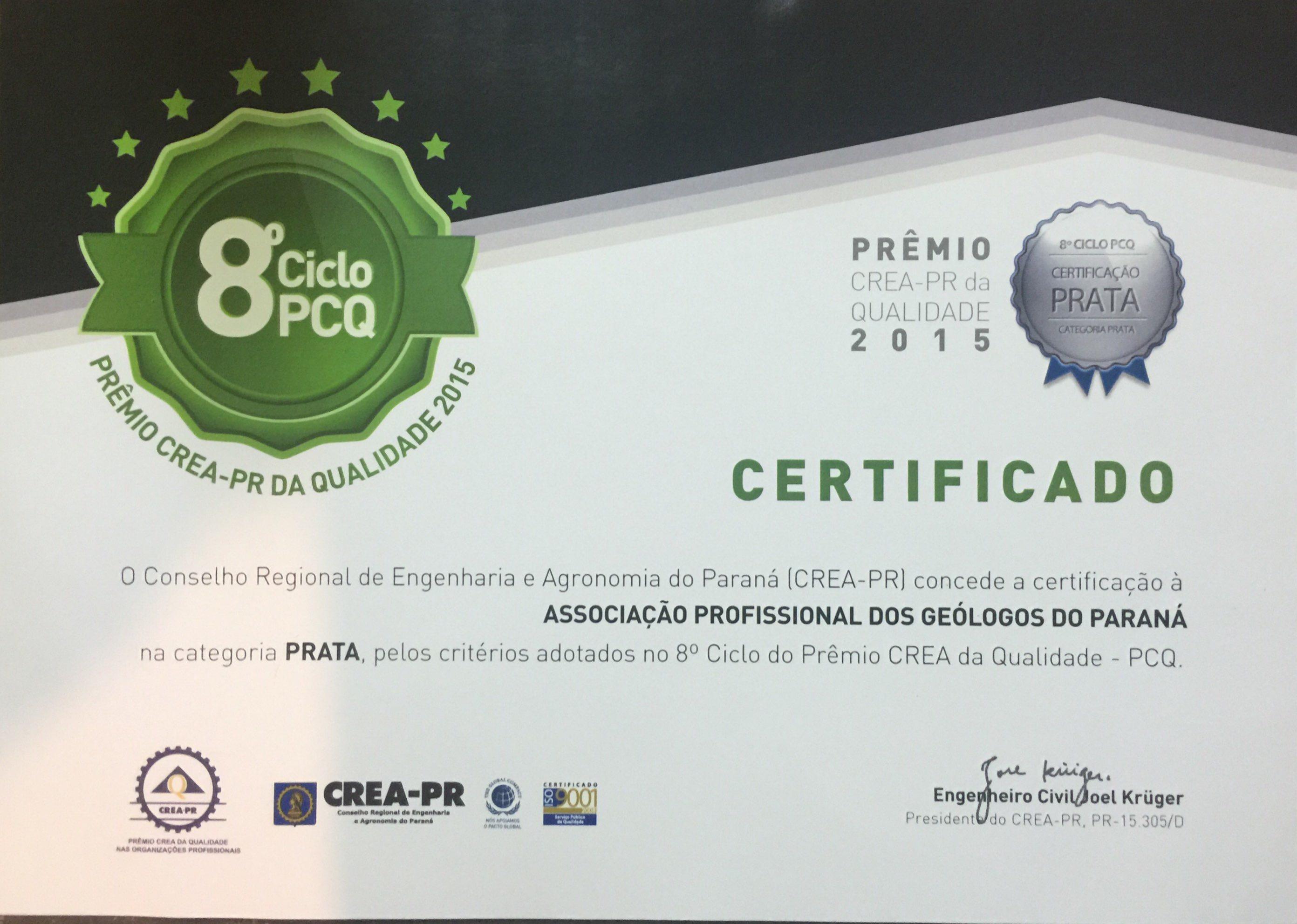 Certificado Prata - 2015